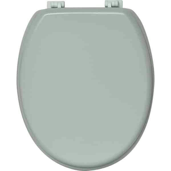 "Oval Toilet Seat Solid Almond Green 17.5"" Wood"
