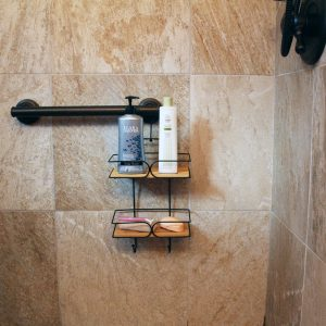 Hanging Shower Caddy Organizer Over the Shower Head - 2 Bamboo Shelves -Black Wire