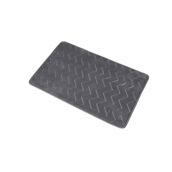 Zigzag Geometric Chevron Bath Mat Non-Skid Memory Foam Dark Grey