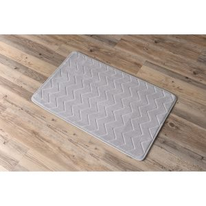 Zigzag Geometric Chevron Bath Mat Non-Skid Memory Foam Light Grey