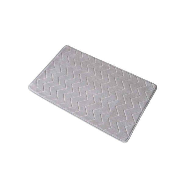 Zigzag Geometric Chevron Bath Mat Non-Skid Memory Foam Light Grey