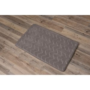 Zigzag Geometric Chevron Bath Mat Non-Skid Memory Foam Tan Beige