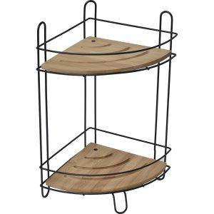 Freestanding Metal Wire Corner Shower Caddy - 2 Bamboo Shelves Brown-Black