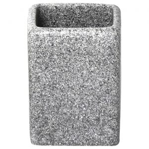 Granite Collection Water Square Tumbler-Toothbrush Holder Polyresin Gray