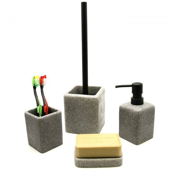Granite Collection Polyresin Bath Accessory Gray Set-4 pieces
