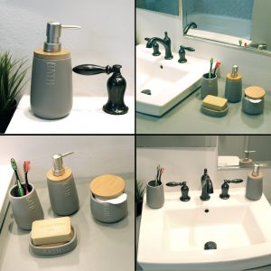 Bath D Dolomite Vanity Soap & Lotion Dispenser Gray-Bamboo Top