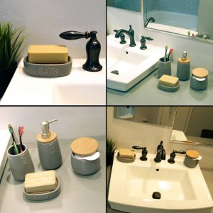 Bath D Collection Dolomite Soap Dish Holder Gray-Bamboo Top-Shower-Sink-Bathroom