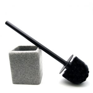 Granite Collection Polyresin Square Toilet Bowl Brush and Holder Gray
