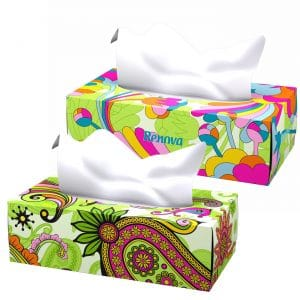 Recycled Scented Facial Tissues 3-Ply with Lotion- 80 White Tissues/Flat Box- Set of 2
