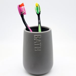 Bath D Collection Water Round Tumbler-Toothbrush Holder Dolomite Gray
