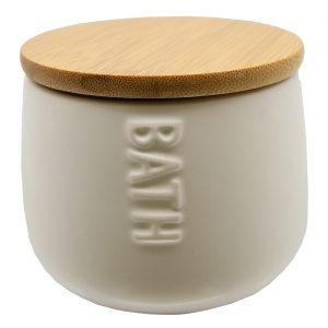 Bath D Collection Dolomite Round Cotton Box White-Bamboo Top