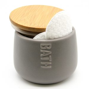 Bath D Collection Dolomite Round Cotton Box Gray-Bamboo Top