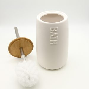 Bath D Collection Dolomite Round Toilet Bowl Brush and Holder White-Bamboo Top