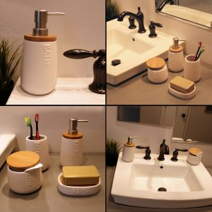 Bath D Dolomite Vanity Soap & Lotion Dispenser White-Bamboo Top