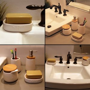 Bath D Collection Dolomite Soap Dish Holder White-Bamboo Top-Shower-Sink-Bathroom