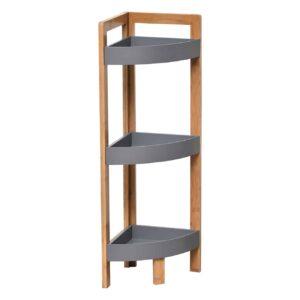 Corner Bath Shelving Unit Floor Storage Cabinet 3 Shelves Noumea Bamboo Gray