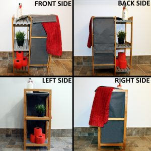 Tilt-Out Laundry Linen Hamper 55 Liters Combo Cabinet Noumea Bamboo Gray