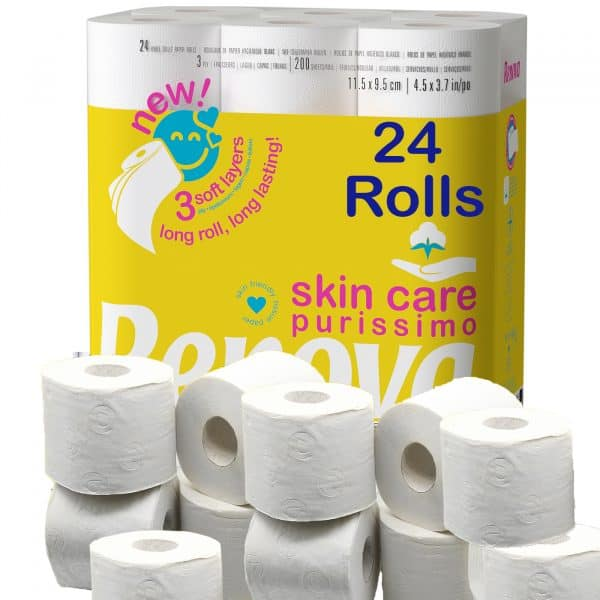 Toilet Paper SkinCare Purissimo 3-Ply White 24 Rolls