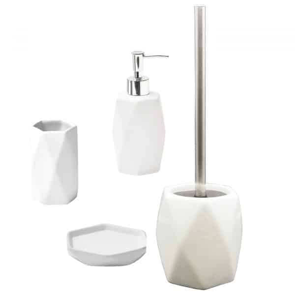 Diamond Collection Bath Accessory Set 4-Pieces White