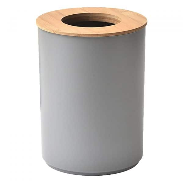 Round Bath Floor Trash Can PADANG Waste Bin Bamboo Open Top Lid-Plastic 5-liters-1.3-gal Grey-Bamboo