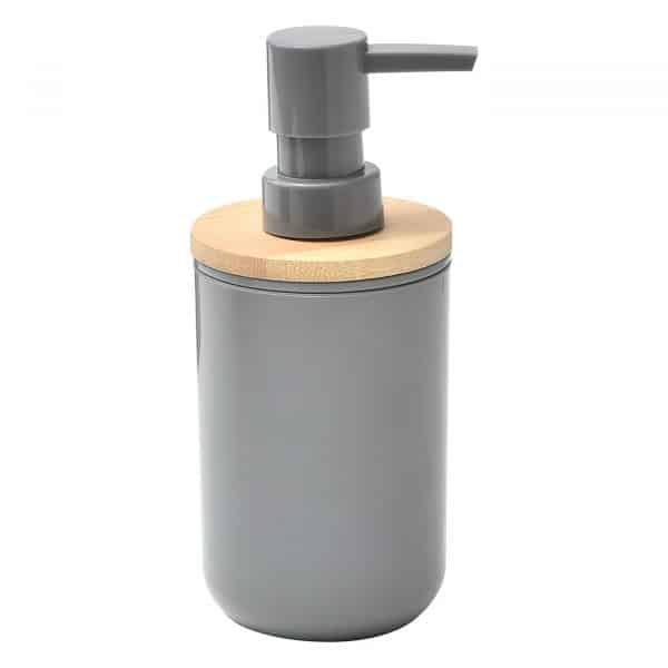 Bath Vanity Soap and Lotion Dispenser PADANG Grey-10 FL OZ-Bamboo Top