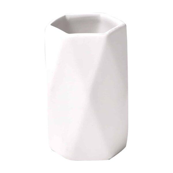 Vanity Bath Water Tumbler Diamond Stoneware White