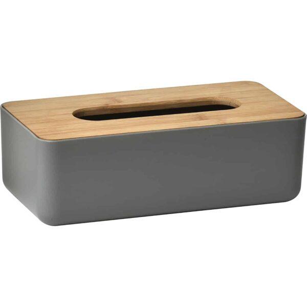 Padang Rectangular Facial Tissue Dispenser Box Cover Grey-Bamboo