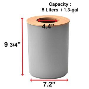 Round Bath Floor Trash Can PADANG Waste Bin Bamboo Open Top Lid-Plastic 5-liters-1.3-gal Grey-Bamboo