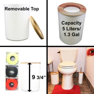 Round Bath Floor Trash Can PADANG Waste Bin Bamboo Open Top Lid-Plastic 5-liters-1.3-gal White-Bamboo