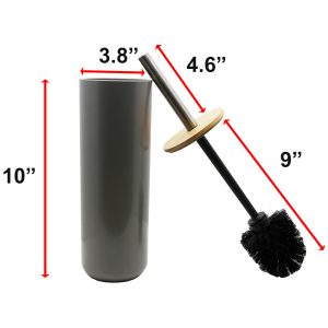 Bathroom Toilet Bowl Brush and Holder PADANG Grey-Bamboo Top Cover