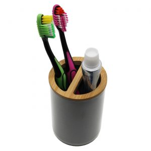 Bath Toothbrush and Toothpaste Holder PADANG Grey-Bamboo Top