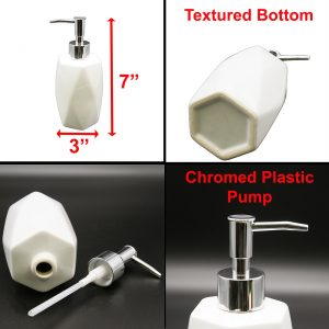 Bathroom Soap and Lotion Dispenser Diamond Stoneware White