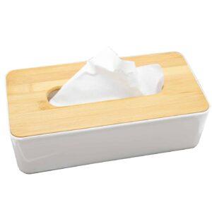 Padang Rectangular Facial Tissue Dispenser Box Cover White-Bamboo