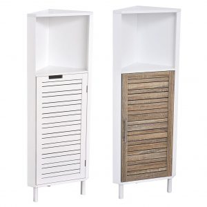 Bathroom Corner Cabinet Shelf Miami 1 Louver Door White