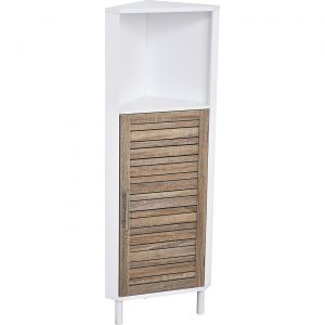 Bathroom Corner Cabinet Shelf Stockholm 1 Louver Door Brown -White
