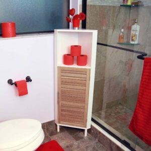 Bathroom Corner Cabinet Shelf Stockholm 1 Louver Door Brown -White