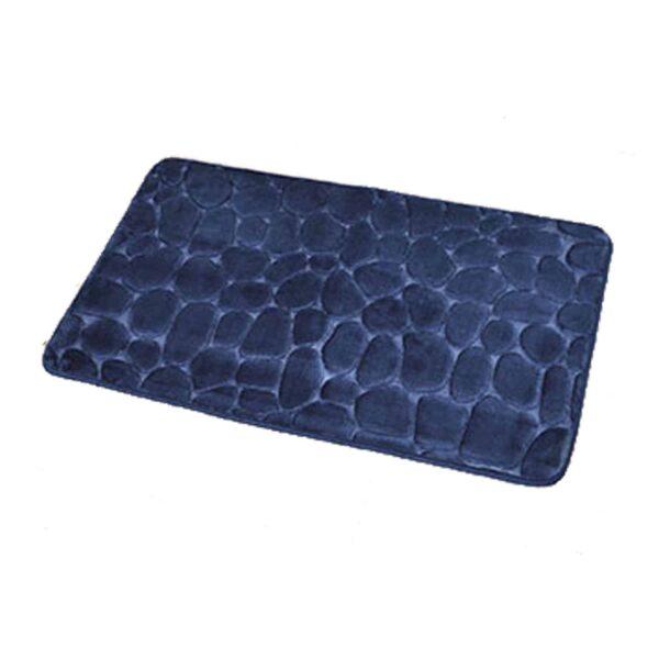 "Rectangular 3D Cobble Stone Memory Foam Bath Mat Microfiber 32""x20"""