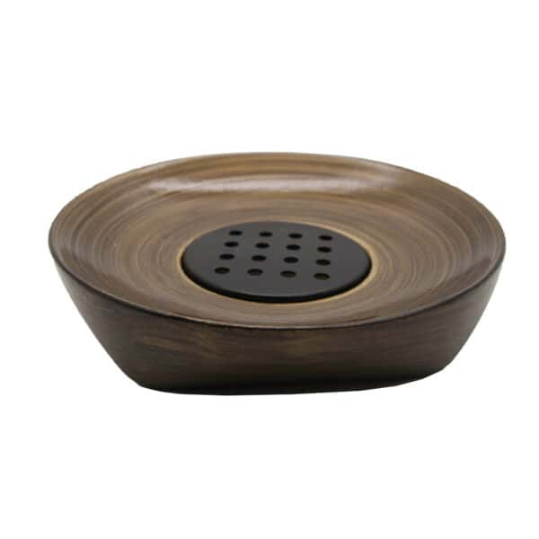 Bath Countertop Soap Dish Cup WENGE Effect-Resin-Brown Gold