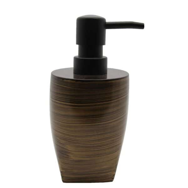 Bath Countertop Soap & Lotion Dispenser WENGE Effect-Resin-Brown Gold