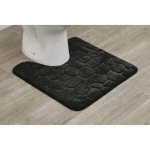 "Contour Toilet Bath Rug U-Shaped 3D Cobble Stone Memory Foam 20"" x 20"""