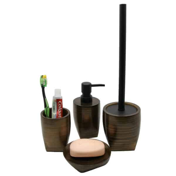 Wenge Collection Resin Bath Accessory Brown Gold Set-4 pieces
