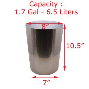 Bath Round Trash Can NOUMEA Brushed Nickel 1.7 Gal-6.5L
