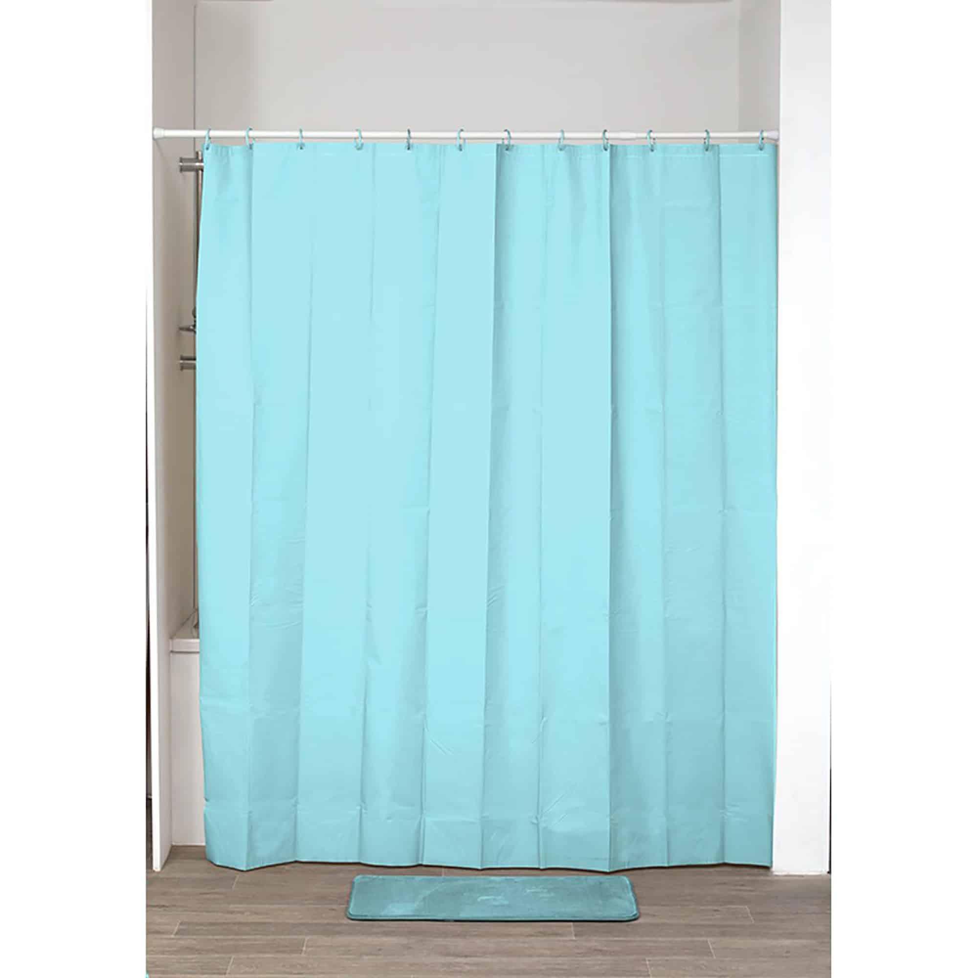 """Extra Length PEVA Bathroom Shower Curtain Aqua Blue 71""""L x 79""""H"""