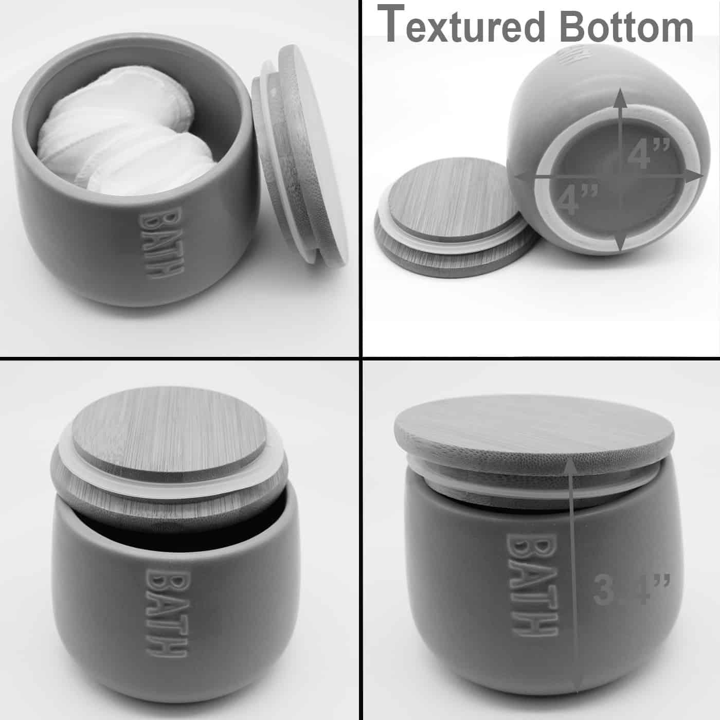 Bath D Dolomite Round Cotton Box Black-Bamboo Top