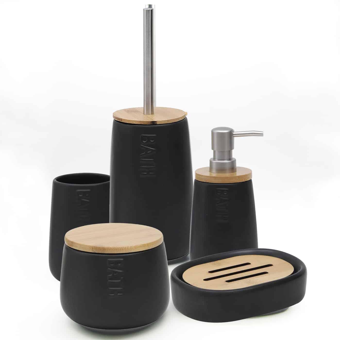 Bath D Dolomite Soap Dish Holder Black-Bamboo Top-Shower-Sink-Bathroom