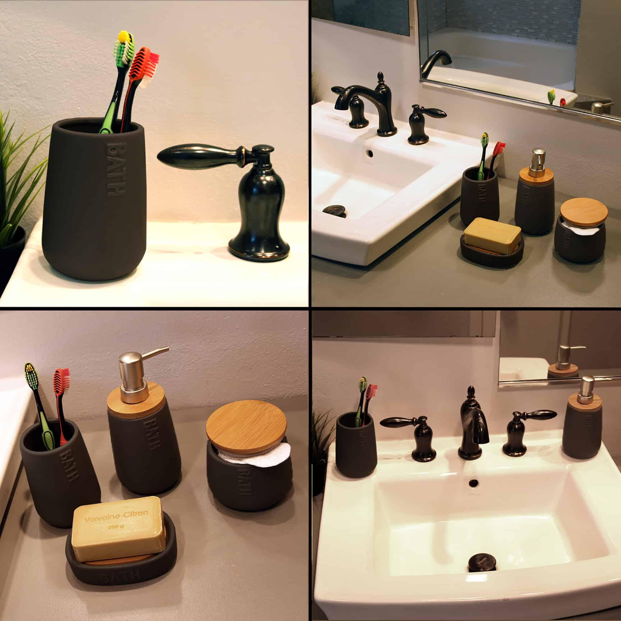 Bath D Dolomite Vanity Soap Dispenser 14 fl oz Black-Bamboo Top