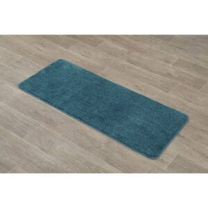 "Microfiber Bath Runner Rug Polyester 47""L x 20""W Peacock Blue"