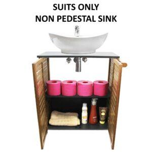 Non Pedestal Under Sink Storage Vanity Cabinet 2 Doors Elements Acacia Wood Grey