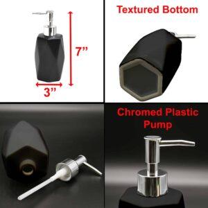 Bathroom Soap and Lotion Dispenser Diamond Stoneware Black