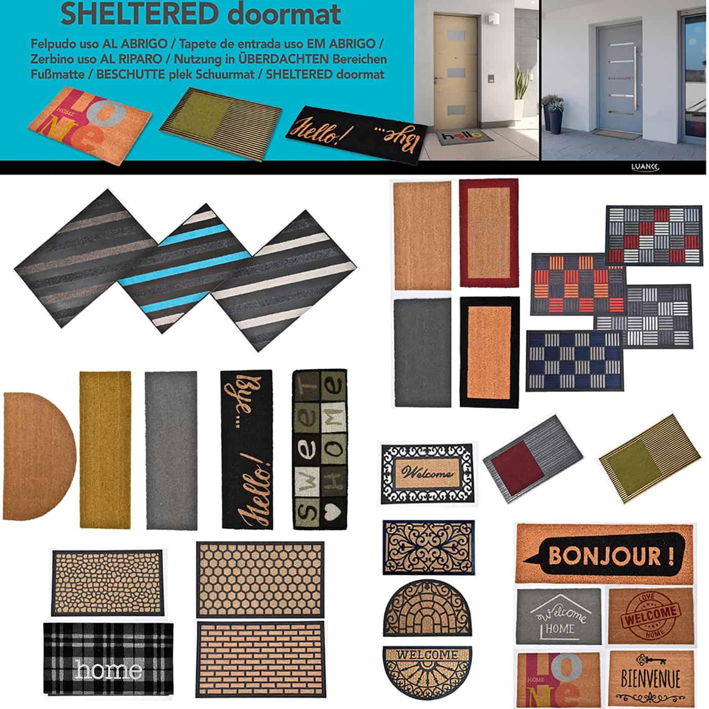 Sheltered Printed Long Front Door Mat Bonjour Coir Coco Fibers Rug 30x10 Black Natural